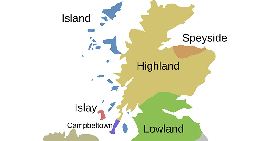 5 whisky regio's Schotland