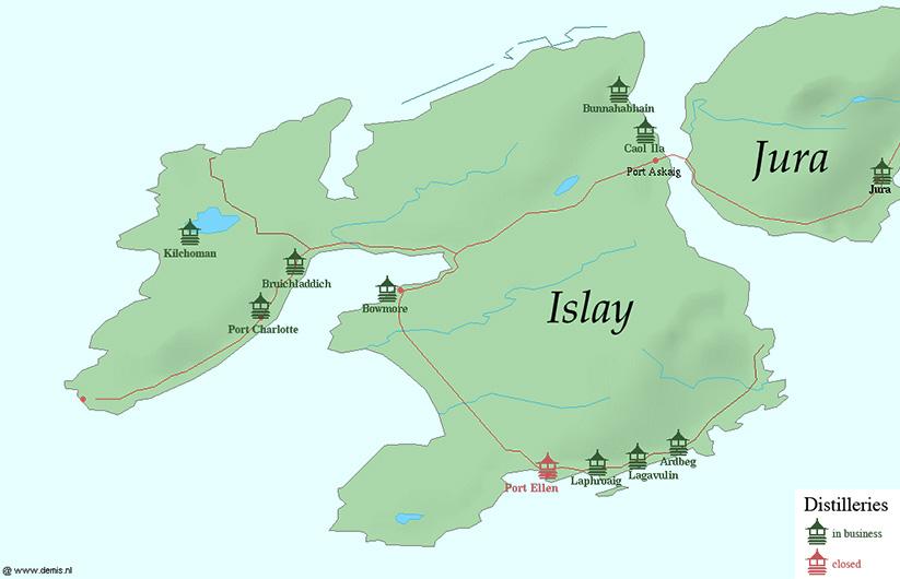 Bekende distilleerderijen van Islay
